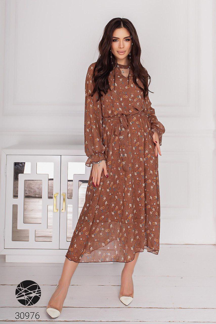 Шифоновое платье миди с длинными рукавами на резинке с 44 по 50 размер