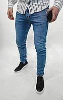Мужские стильные зауженные джинсы синие