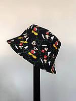 Мужская стильная панама двухсторонняя (микки маус) чёрная / 58 размер