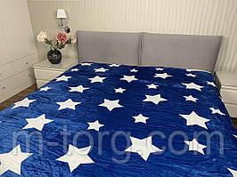 Синий со звёздами  плед двуспальный 180/200, микрофибра