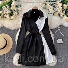 Платье-рубашка с контрастной строчкой / арт.214