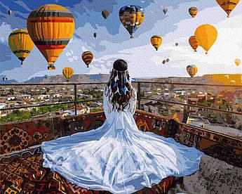 Картина за номерами Принцеса і повітряні кулі 40 х 50 см (BK-GX37984)