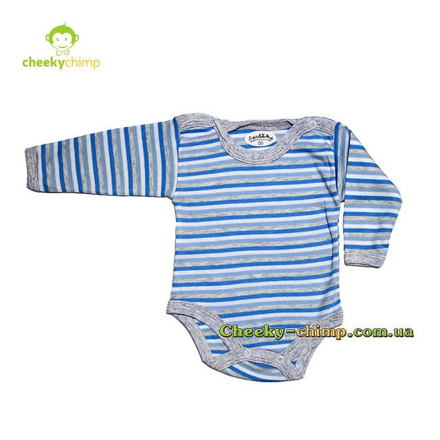 Бодик голубой полосатый на мальчика 56, 62, 68 см