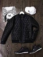 Куртка кожаная мужская весенняя осенняя демисезонная Casual черная   Бомбер мужской Кожанка ЛЮКС качества