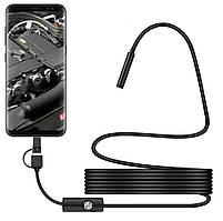 Камера эндоскоп с кабелем на 1 метр 5.5 мм USB/micro USB/Type C с подсветкой (мягкий провод) (17459), фото 2