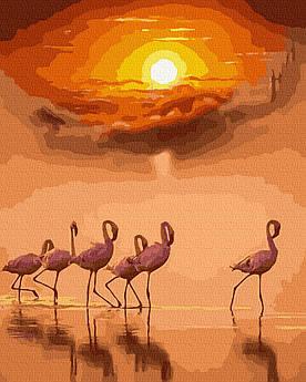 Картина за номерами Фламинго на заході сонця 40 х 50 см (BK-GX39309)