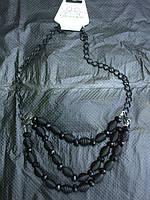 39. Бусы на цепи, металл+пластик, с металлическими шариками, черные, Корея. Эксклюзив!!!