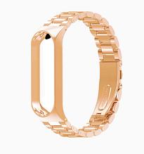 Металлический браслет для фитнес трекера Xiaomi mi band 5 Цвет Золотистый аксессуар замена
