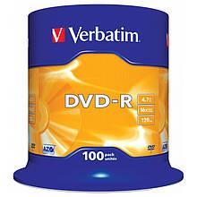 DVD-R Verbatim (43549) 4.7 GB, 16x, Cake Box, 100шт Silver
