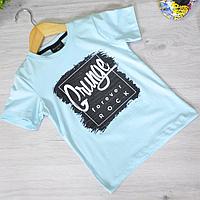 Детская футболка, трикотаж, для мальчика 5-8 лет (4 ед. в уп), Синий