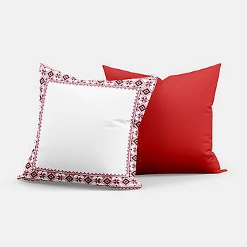 """Подушка """"Українська традиція"""" SD006, орнамент  квадрат 35х35 білий/червоний"""