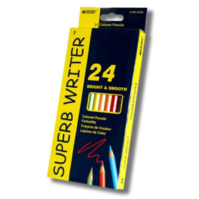 4100-24CB Цветные карандаши Marco 24 цвета шестигранные Superb Writer