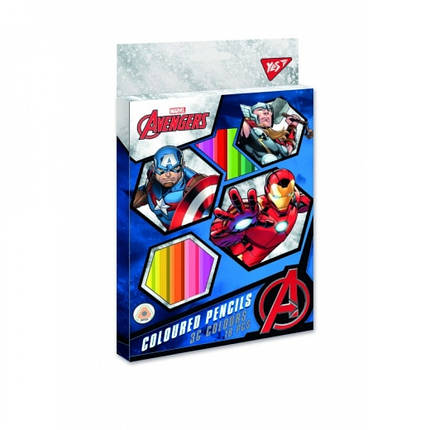 290607 Кольорові олівці Marvel 18шт / 36 кольорів тм YES, фото 2