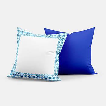 """Подушка """"Українська традиція, орнамент"""" SD007 квадрат 35х35 білий/синій"""