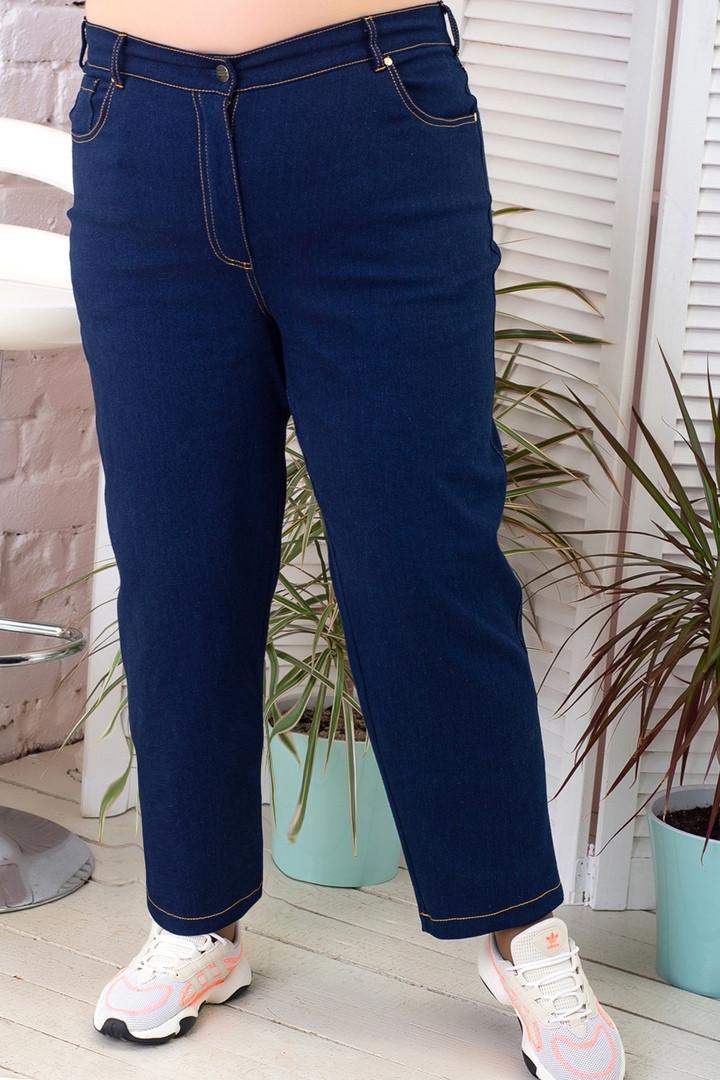 Женские джинсы укороченные супер батальные со строчками