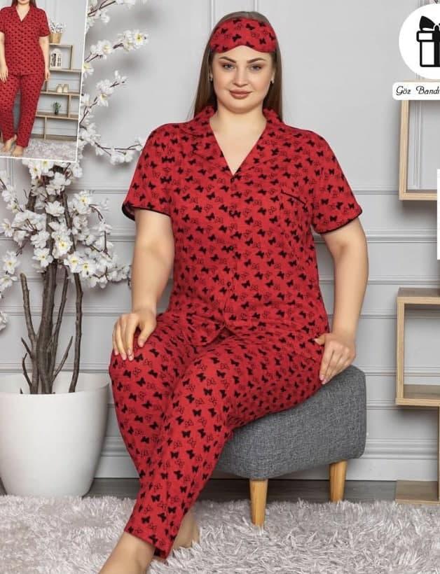 Пижама женская  рубашка и штаны ,больших размеров Pijamoni хлопок Турция