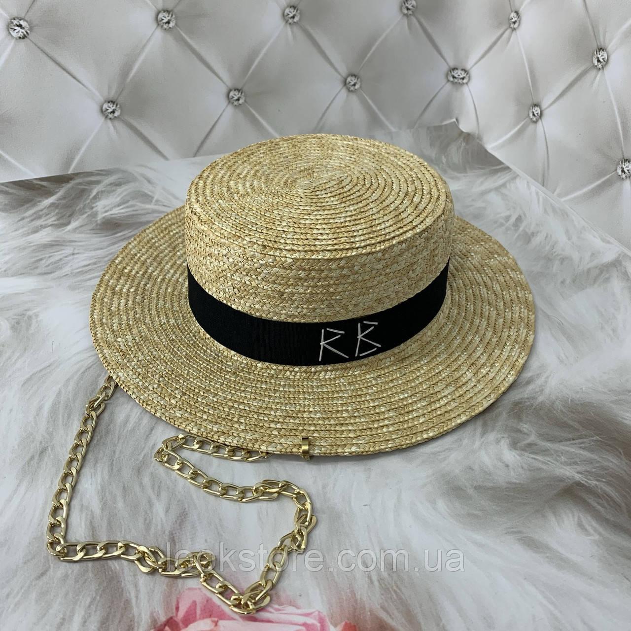 Солом'яний капелюшок канотьє з чорною стрічкою (поля 7 см)