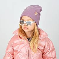 Дитяча шапка для дівчинки з брошкою весна-осінь