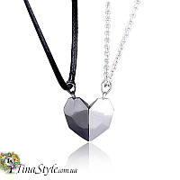 Парные подвески для двоих влюбленных на магните кулон пара для двоих сердце половинки любовь I love you