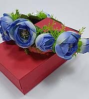 Венок на голову из цветов, украинский веночек голубого цвета, обруч на волосы, веночек к вышиванке