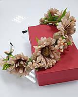 Венок на голову из цветов, украинский веночек пудрового цвета, обруч на волосы, веночек к вышиванке
