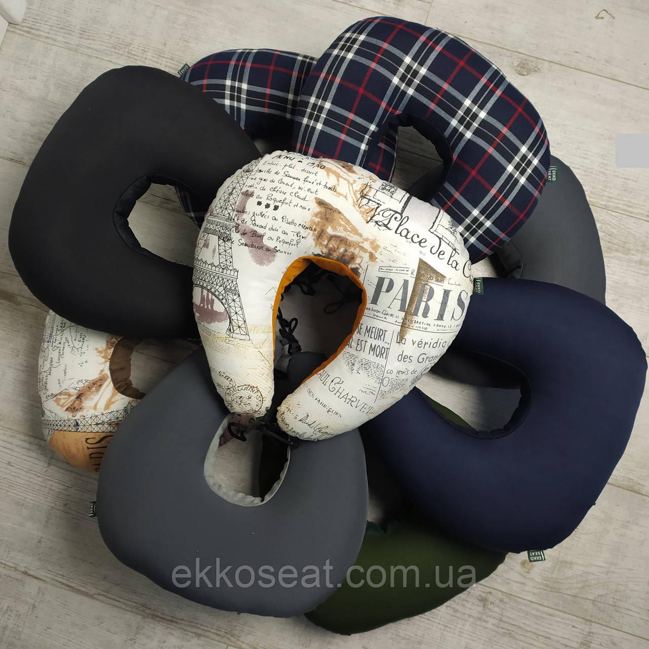 Дорожная подушка для путешествий EKKOSEAT. Бинарная с велюровой вставкой. Париж, Шотландия, Однотонная.