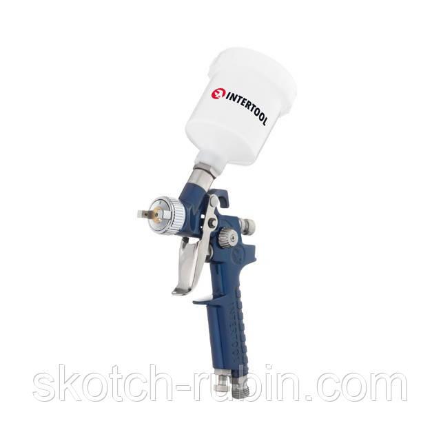 Пневматичний фарборозпилювач HVLP MINI, форсунка 1.2 мм, верхній пластиковий бачок 125мл., 3бар INTERTOOL PT-0122