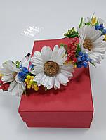 Венок на голову из цветов, украинский веночек белая ромашка, обруч на волосы, веночек к вышиванке