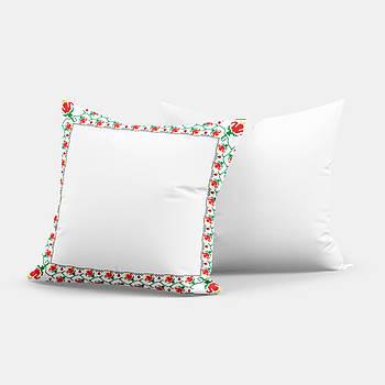 """Подушка """"Українська традиція"""" SD017, орнамент  квадрат 35х35 білий/червоний"""