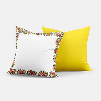 """Подушка """"Українська традиція"""" SD018, орнамент  квадрат 35х35 білий/жовтий"""