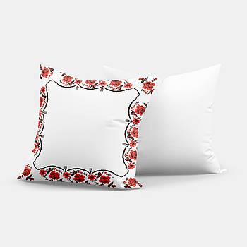 """Подушка """"Українська традиція"""" SD019, орнамент  квадрат 35х35 білий/червоний"""