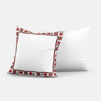 """Подушка """"Українська традиція"""" SD020, орнамент  квадрат 35х35 білий/червоний"""