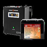 ИБП+литиевая (LifePo4) батарея комплект резервного питания для газового котла Logicpower W800 1500ватт, фото 1
