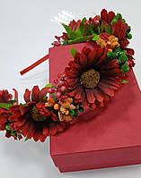 Венок на голову из цветов, украинский веночек красного цвета, обруч на волосы, веночек к вышиванке
