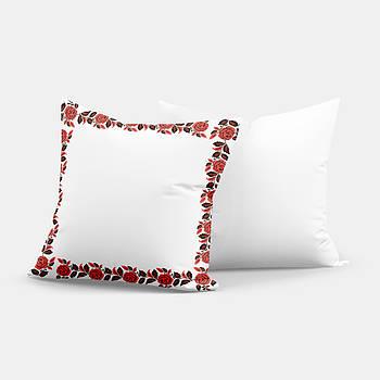 """Подушка """"Українська традиція"""" SD022, орнамент  квадрат 35х35 білий/червоний"""