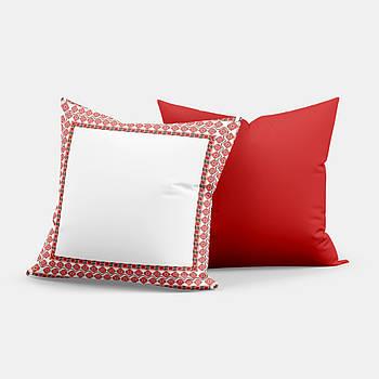 """Подушка """"Українська традиція"""" SD023, орнамент  квадрат 35х35 білий/червоний"""