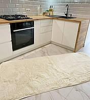 Пушистый прикроватный коврик с длинным ворсом | Ворсистый ковер в размере 90х200 см. | Ковер молочного цвета