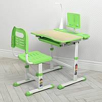 Парта детская M 4428(W)-5 со стульчиком, регулируемая, подставка для книг, лампа, зеленый, бежевая столешн.