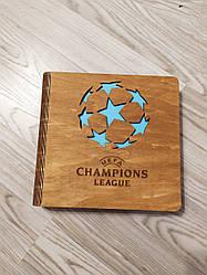 Деревянный фотоальбом Лига Чемпионов, альбом из дерева семейный