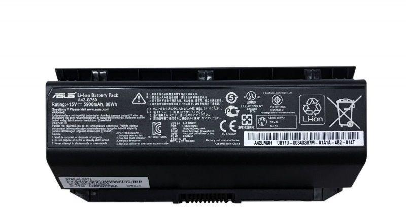 Аккумулятор для ноутбука Asus A42-G750 / 15V 5900mAh / Original Black