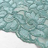 Стрейчевое (эластичное) кружево пастельного зеленого цвета (мятный оттенок) шириной 22 см., фото 6