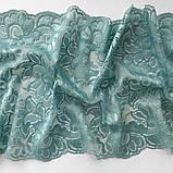 Стрейчевое (эластичное) кружево пастельного зеленого цвета (мятный оттенок) шириной 22 см., фото 4