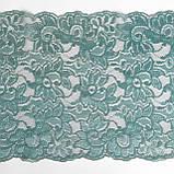 Стрейчевое (эластичное) кружево пастельного зеленого цвета (мятный оттенок) шириной 22 см., фото 5