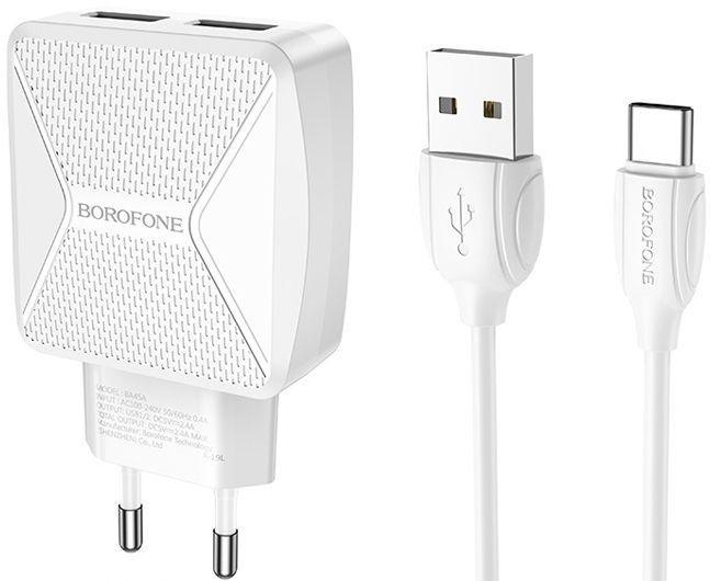 Мережевий зарядний пристрій Borofone BA45A Max Power 2USB + USB Type-C Cable White