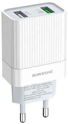 Мережевий зарядний пристрій з підтримкою Quick Charge 3.0 Borofone BA39A Speedway 2USB 3A White