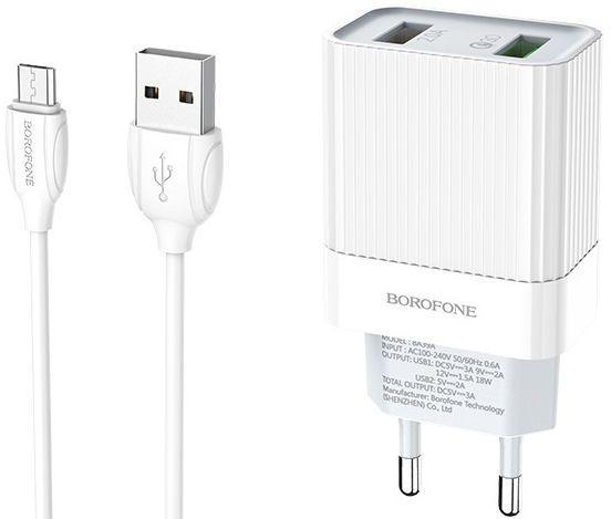 Мережевий зарядний пристрій з підтримкою Quick Charge 3.0 Borofone BA39A Speedway 2USB 3A + micro USB Cable