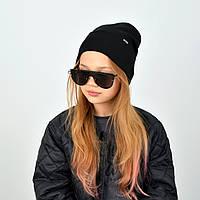 Бавовняна дитяча шапка з відворотом чорного кольору
