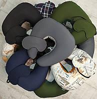 Подушка дорожная для шеи EKKOSEAT маской. Бинарная с велюровой вставкой под шею. Париж. Клетка. Однотонная