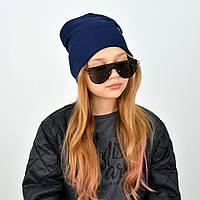 Подвійна бавовняна шапочка для дівчаток і жінок в синьому кольорі