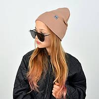 Дитяча бавовняна шапочка для дівчаток бежевого кольору
